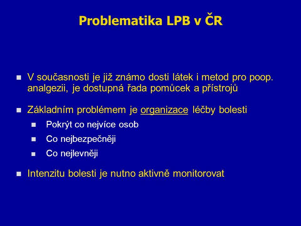 Problematika LPB v ČR V současnosti je již známo dosti látek i metod pro poop. analgezii, je dostupná řada pomůcek a přístrojů Základním problémem je