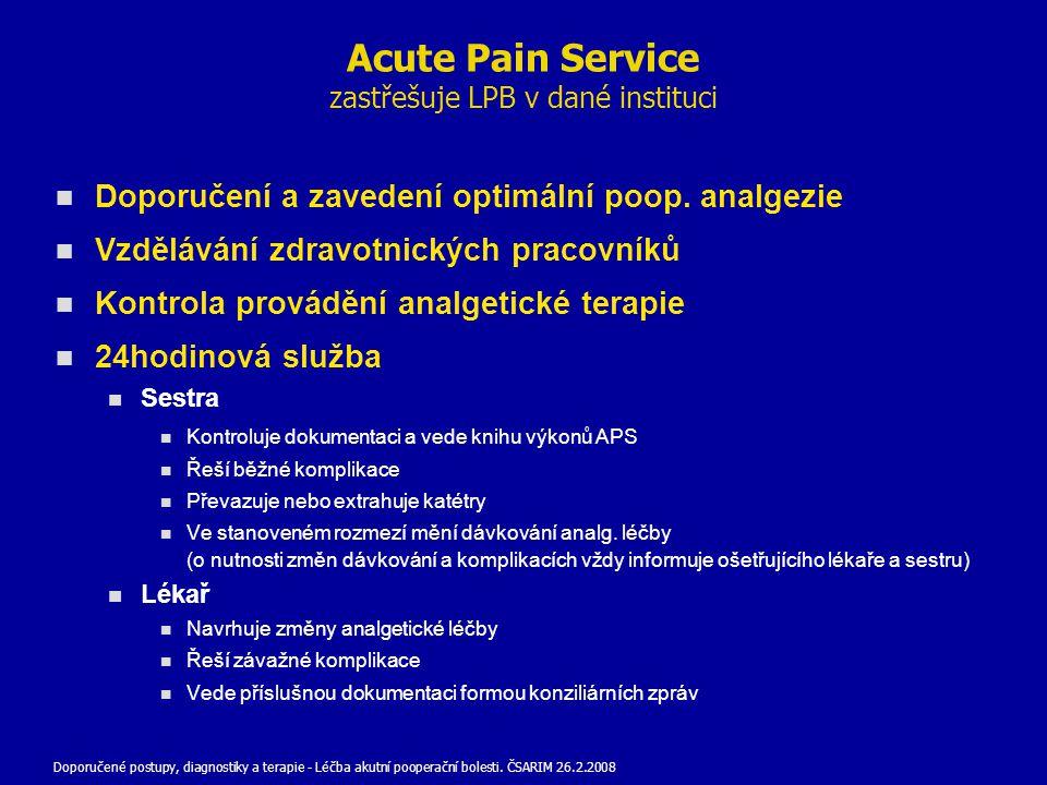 Doporučení a zavedení optimální poop. analgezie Vzdělávání zdravotnických pracovníků Kontrola provádění analgetické terapie 24hodinová služba Sestra K