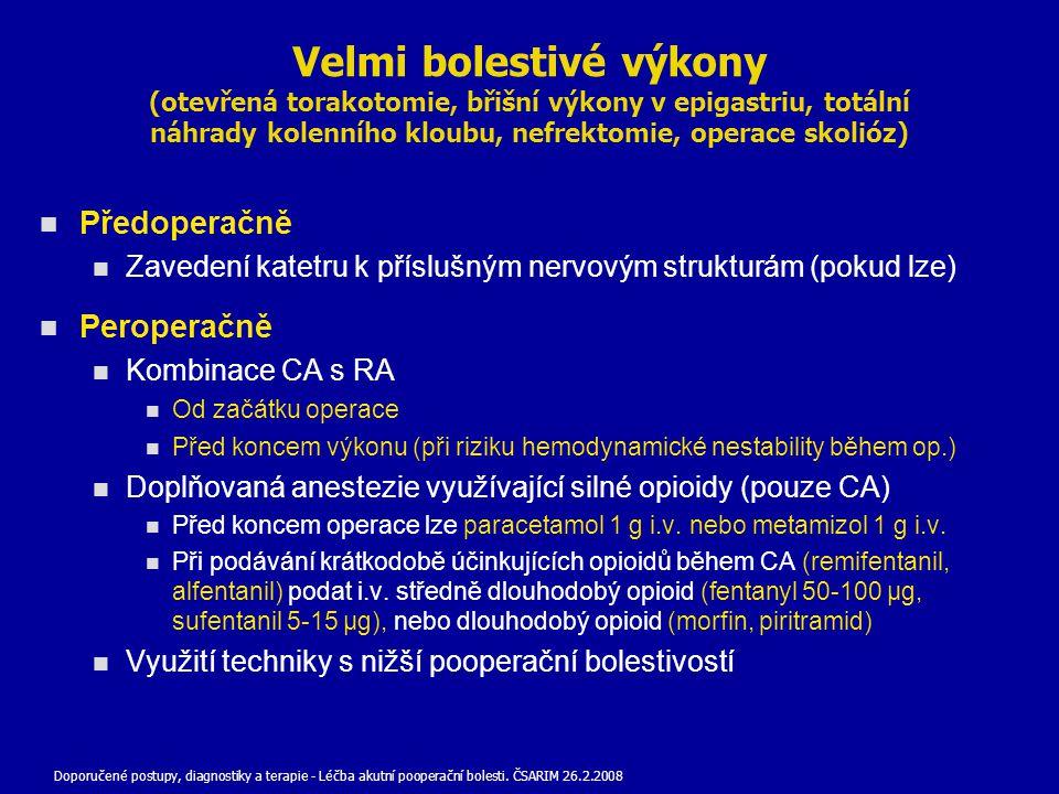 Velmi bolestivé výkony (otevřená torakotomie, břišní výkony v epigastriu, totální náhrady kolenního kloubu, nefrektomie, operace skolióz) Předoperačně