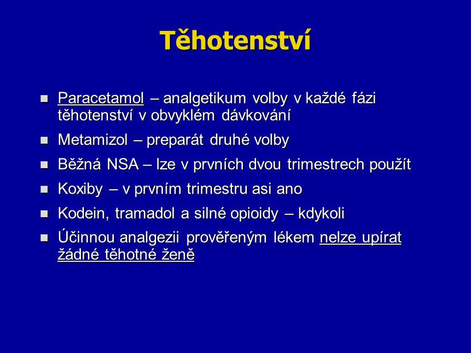 Těhotenství Paracetamol – analgetikum volby v každé fázi těhotenství v obvyklém dávkování Paracetamol – analgetikum volby v každé fázi těhotenství v o