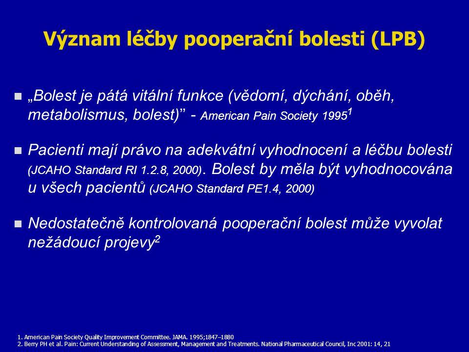 """Význam léčby pooperační bolesti (LPB) """"Bolest je pátá vitální funkce (vědomí, dýchání, oběh, metabolismus, bolest)'' - American Pain Society 1995 1 Pa"""