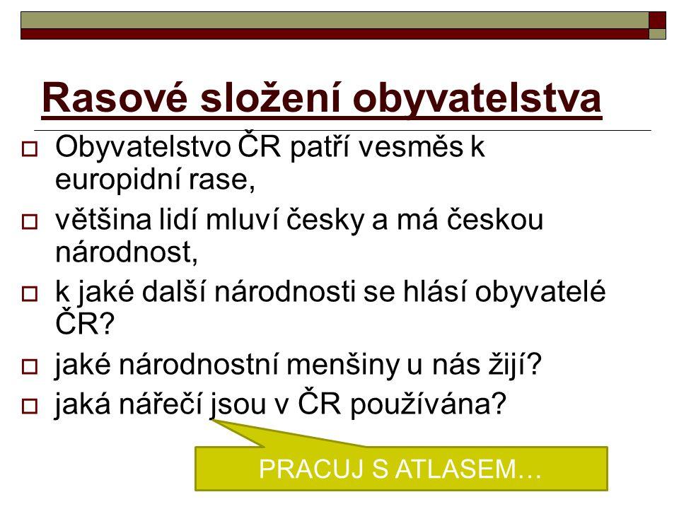 Rasové složení obyvatelstva  Obyvatelstvo ČR patří vesměs k europidní rase,  většina lidí mluví česky a má českou národnost,  k jaké další národnos