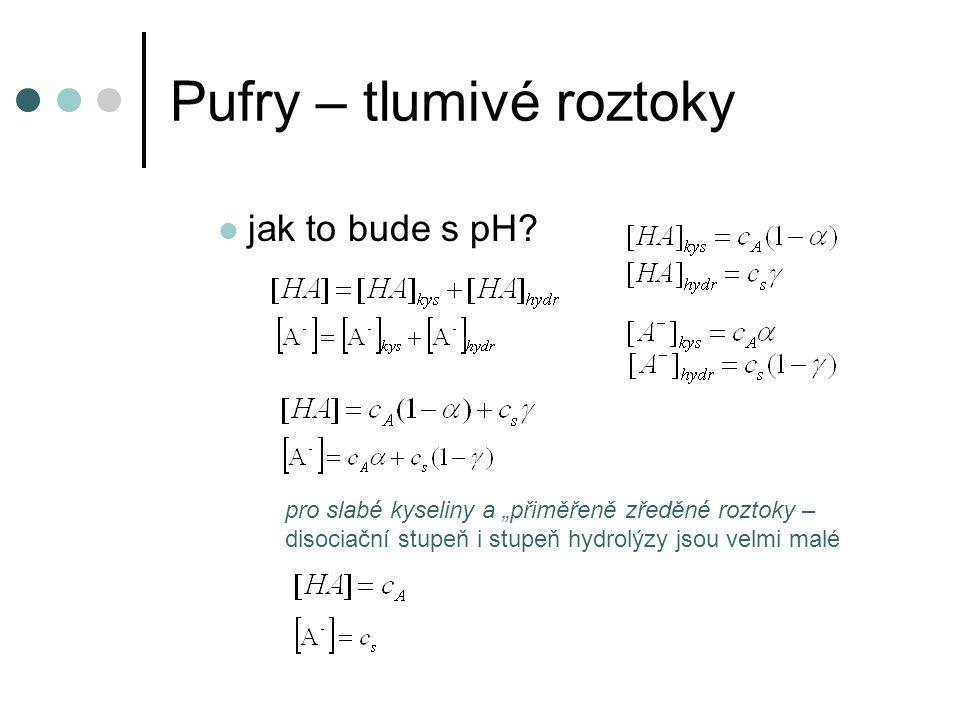 """Pufry – tlumivé roztoky jak to bude s pH? pro slabé kyseliny a """"přiměřeně zředěné roztoky – disociační stupeň i stupeň hydrolýzy jsou velmi malé"""