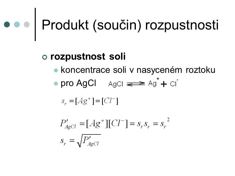 Produkt (součin) rozpustnosti rozpustnost soli koncentrace soli v nasyceném roztoku pro AgCl