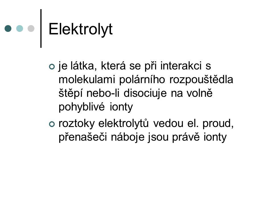 Elektrolyt je látka, která se při interakci s molekulami polárního rozpouštědla štěpí nebo-li disociuje na volně pohyblivé ionty roztoky elektrolytů vedou el.