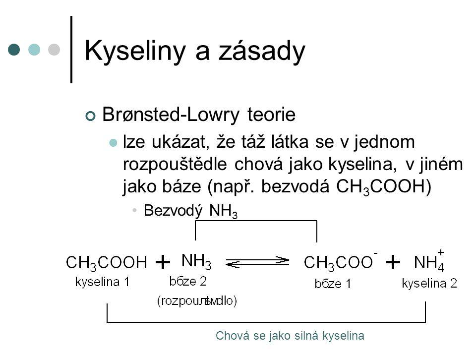 Kyseliny a zásady Brønsted-Lowry teorie lze ukázat, že táž látka se v jednom rozpouštědle chová jako kyselina, v jiném jako báze (např. bezvodá CH 3 C