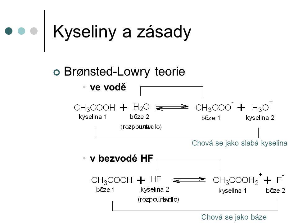 Kyseliny a zásady Brønsted-Lowry teorie ve vodě v bezvodé HF Chová se jako slabá kyselina Chová se jako báze