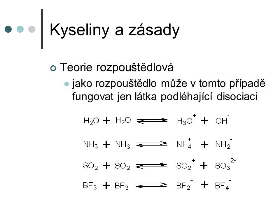 Kyseliny a zásady Teorie rozpouštědlová jako rozpouštědlo může v tomto případě fungovat jen látka podléhající disociaci