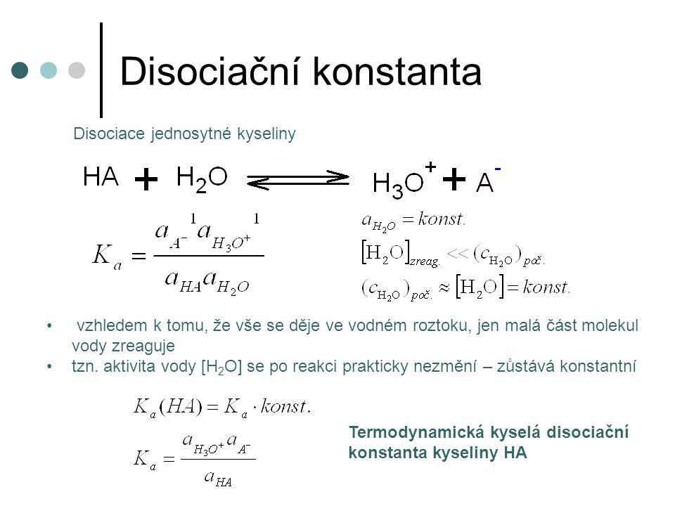 Disociační konstanta vzhledem k tomu, že vše se děje ve vodném roztoku, jen malá část molekul vody zreaguje tzn. aktivita vody [H 2 O] se po reakci pr