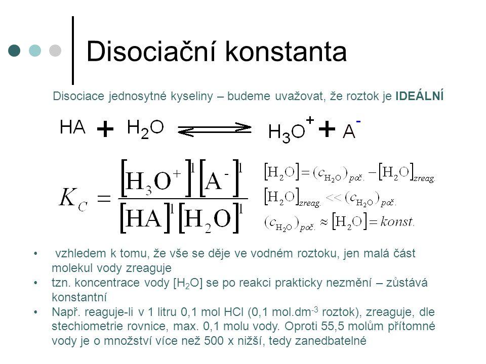 Disociační konstanta vzhledem k tomu, že vše se děje ve vodném roztoku, jen malá část molekul vody zreaguje tzn. koncentrace vody [H 2 O] se po reakci