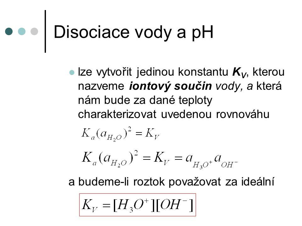 Disociace vody a pH lze vytvořit jedinou konstantu K V, kterou nazveme iontový součin vody, a která nám bude za dané teploty charakterizovat uvedenou