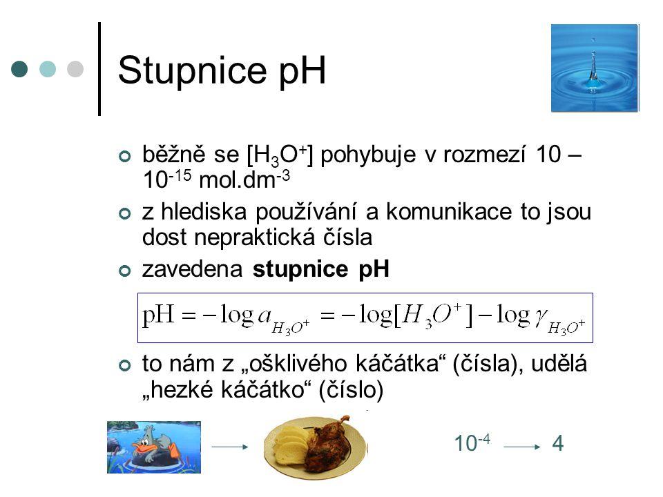 Stupnice pH běžně se [H 3 O + ] pohybuje v rozmezí 10 – 10 -15 mol.dm -3 z hlediska používání a komunikace to jsou dost nepraktická čísla zavedena stu