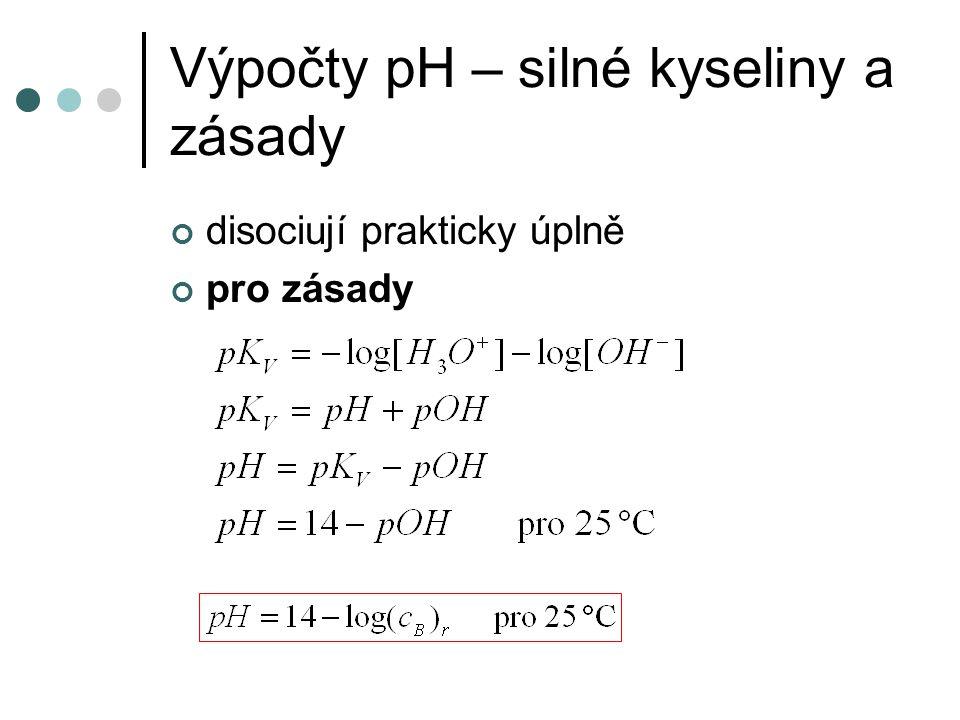 Výpočty pH – silné kyseliny a zásady disociují prakticky úplně pro zásady