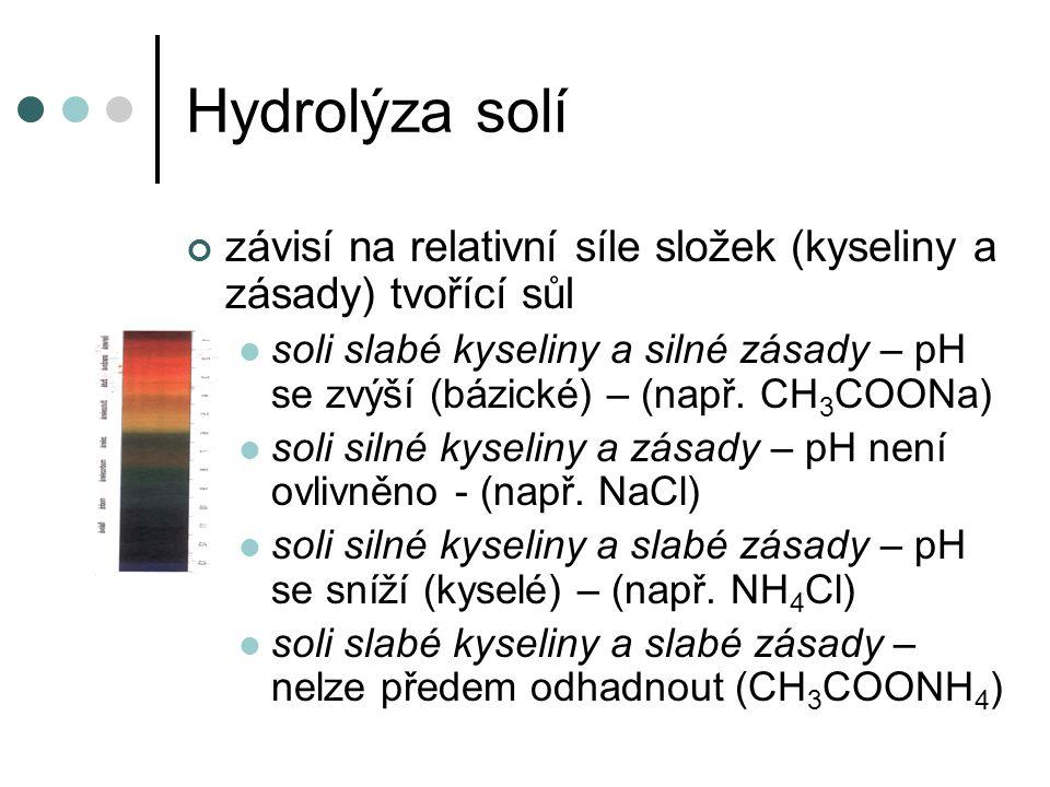 Hydrolýza solí závisí na relativní síle složek (kyseliny a zásady) tvořící sůl soli slabé kyseliny a silné zásady – pH se zvýší (bázické) – (např. CH