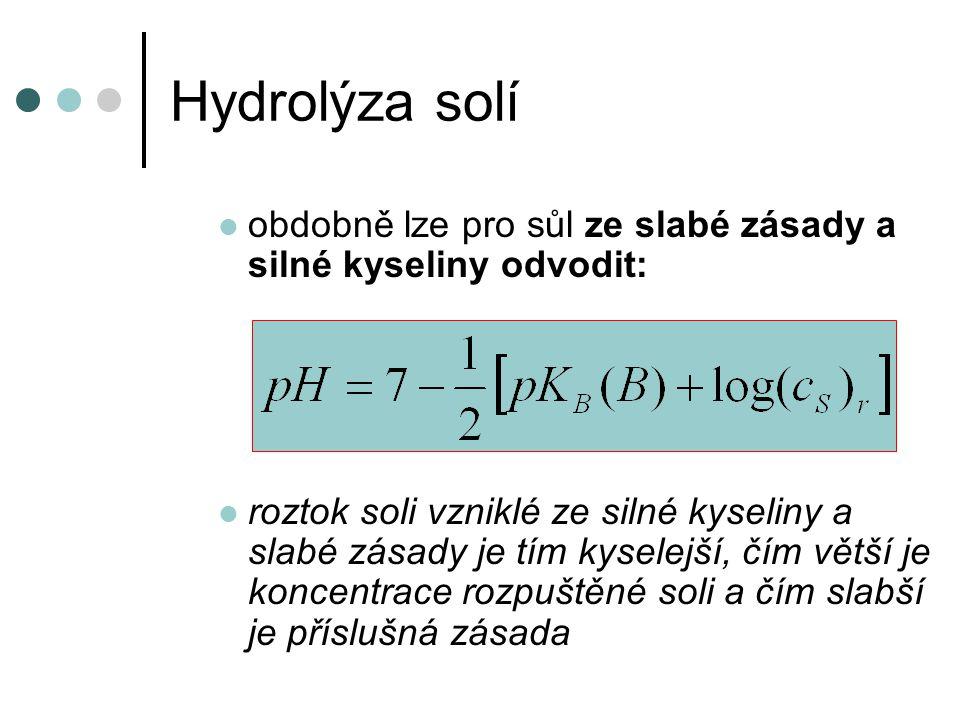Hydrolýza solí obdobně lze pro sůl ze slabé zásady a silné kyseliny odvodit: roztok soli vzniklé ze silné kyseliny a slabé zásady je tím kyselejší, čí