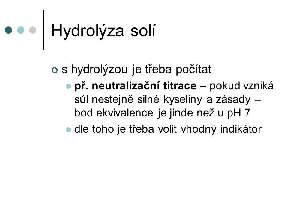 Hydrolýza solí s hydrolýzou je třeba počítat př. neutralizační titrace – pokud vzniká sůl nestejně silné kyseliny a zásady – bod ekvivalence je jinde