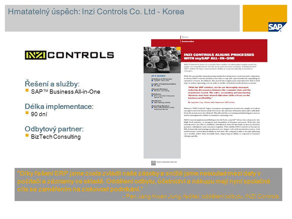 """Hmatatelný úspěch: Inzi Controls Co. Ltd - Korea """"Díky řešení ERP jsme zcela zvládli naše zásoby a snížili jsme nesoulad mezi daty v počítači a záznam"""