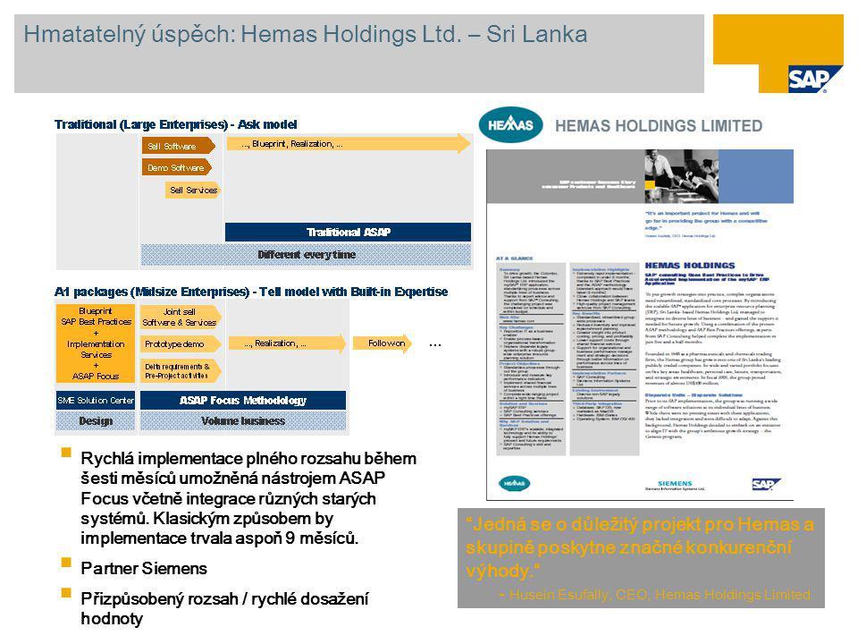 """Hmatatelný úspěch: Hemas Holdings Ltd. – Sri Lanka """"Jedná se o důležitý projekt pro Hemas a skupině poskytne značné konkurenční výhody."""" - Husein Esuf"""
