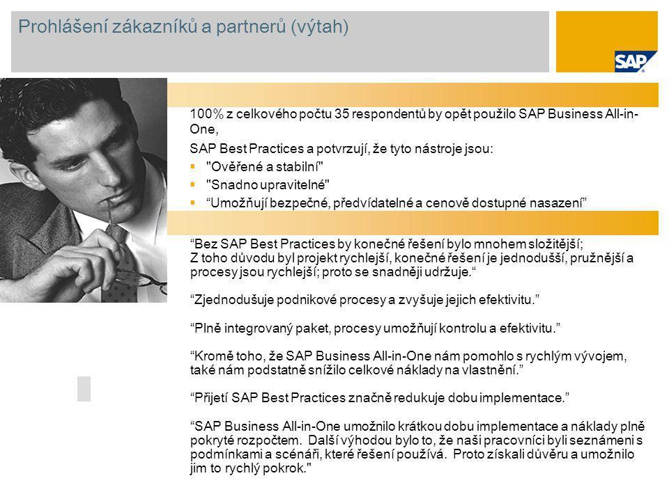 Prohlášení zákazníků a partnerů (výtah) 100% z celkového počtu 35 respondentů by opět použilo SAP Business All-in- One, SAP Best Practices a potvrzují