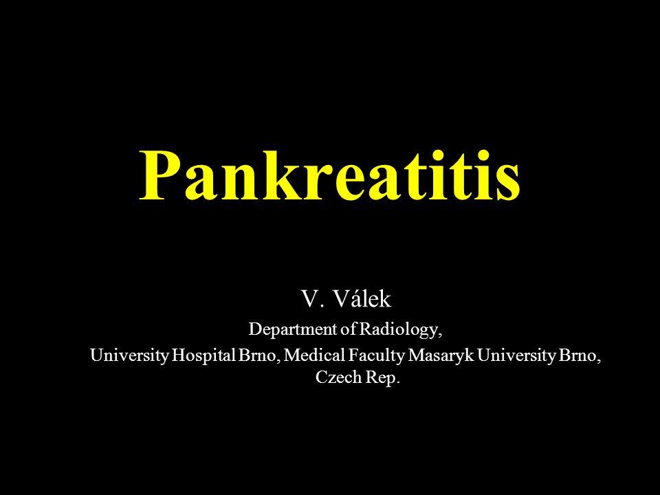 Chronická pankreatitida – kalcifikace, změny na pankreatickém vývodu Akutní pankreatitis – po vyléčení zánětu je na pankreatu včetně pankreatického vývodu normální nález Recidivující – opakované ataky, postupně přechází do chronické pankreatitidy Akutní, chronická či recidivující pankreatitida?