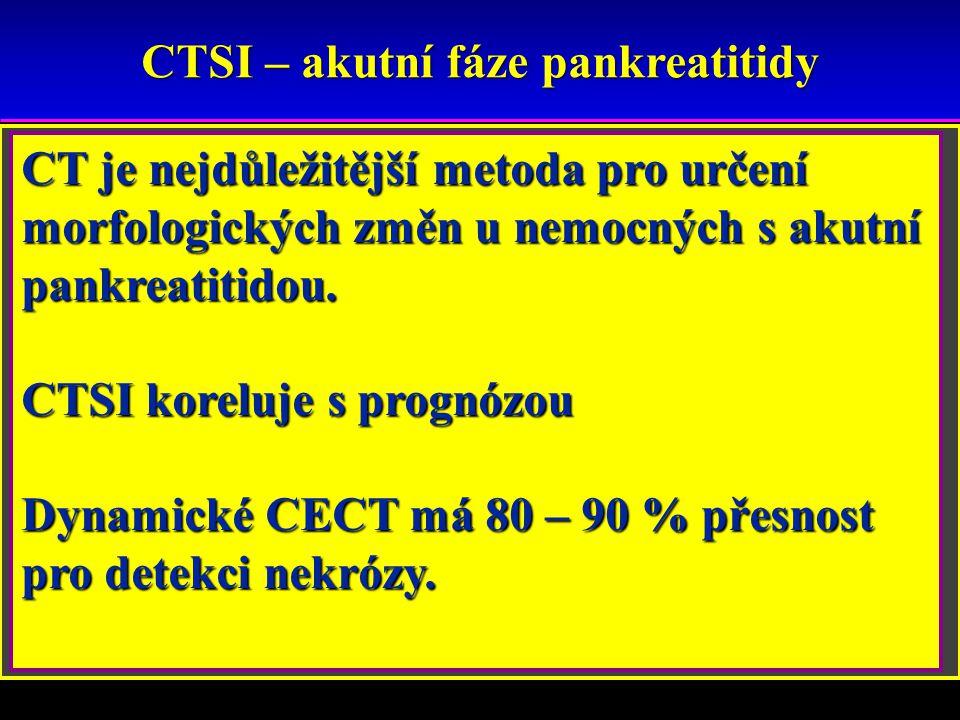 CTSI – akutní fáze pankreatitidy A – normální slinivka B – fokální (20%), difuzní zvětšení slinivky,nepravidelné kontury, nehomogenní denzity kontury,