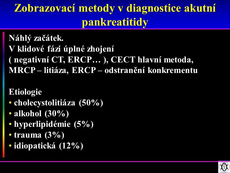1.Acute peripancreatic fluid collection (APFC) (během 48 hodin ve 30 – 50 % případů, většina sterilní, vstřebá se za 2 - 4 týdny) 2.Post necrotic pancreatic fluid collections (PNPFC) (tekutina a nekróza – tuk, nekróza → kolikvace) 3.Walled off pancreatic necrosis (WOPN) = pozdní fáze PNPFC 4.Pankreatická pseudocysta (4 týdny a více, NE nekrózy) 5.Pankreatický absces = infikovaná pseudocysta (dif.dg.