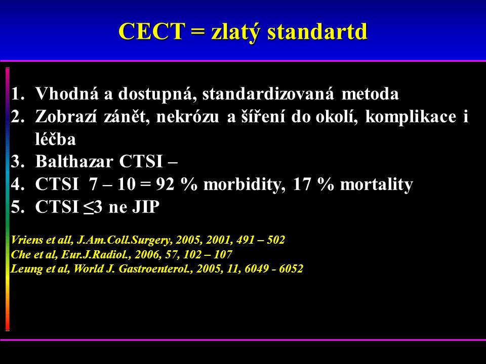 1.Vhodná a dostupná, standardizovaná metoda 2.Zobrazí zánět, nekrózu a šíření do okolí, komplikace i léčba 3.Balthazar CTSI – 4.CTSI 7 – 10 = 92 % mor