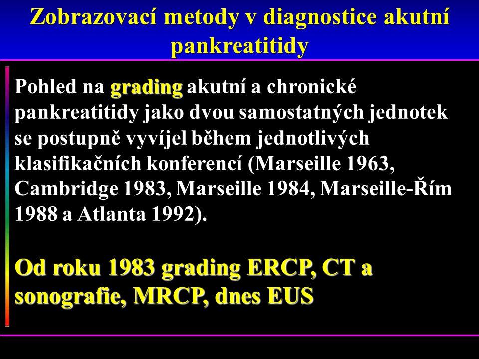 Pohled na grading akutní a chronické pankreatitidy jako dvou samostatných jednotek se postupně vyvíjel během jednotlivých klasifikačních konferencí (M