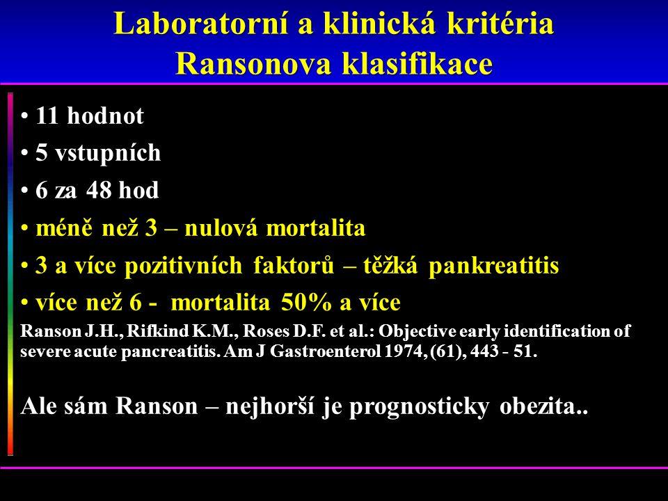 11 hodnot 5 vstupních 6 za 48 hod méně než 3 – nulová mortalita 3 a více pozitivních faktorů – těžká pankreatitis více než 6 - mortalita 50% a více Ra