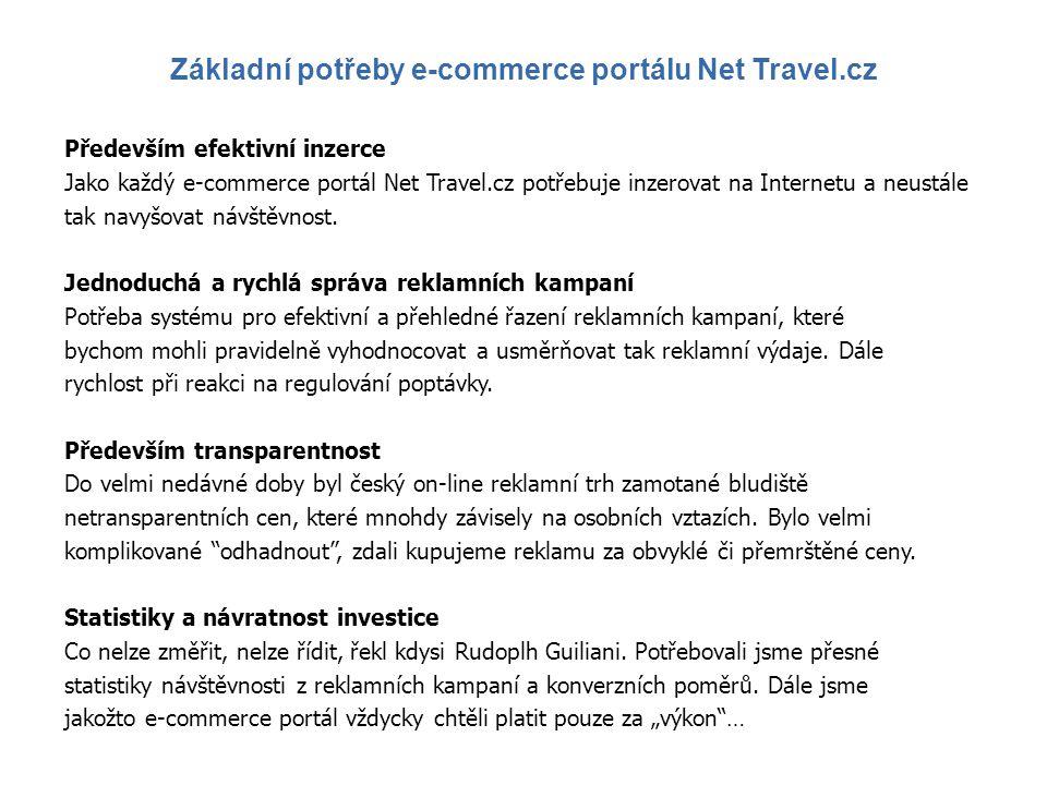 Především efektivní inzerce Jako každý e-commerce portál Net Travel.cz potřebuje inzerovat na Internetu a neustále tak navyšovat návštěvnost. Jednoduc