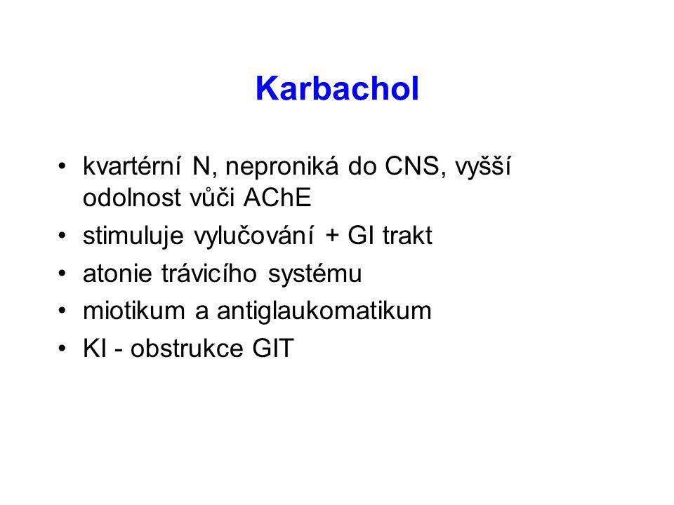 Karbachol kvartérní N, neproniká do CNS, vyšší odolnost vůči AChE stimuluje vylučování + GI trakt atonie trávicího systému miotikum a antiglaukomatiku