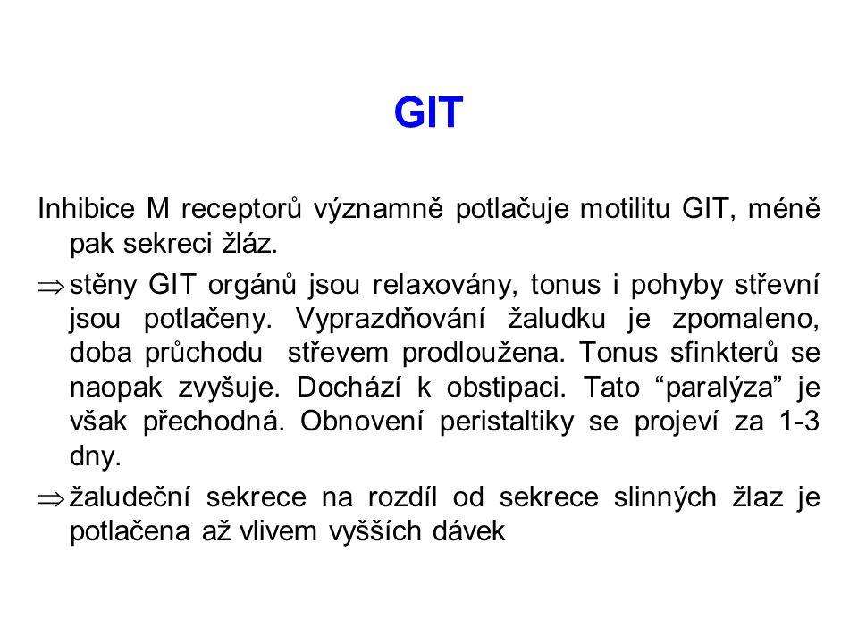 GIT Inhibice M receptorů významně potlačuje motilitu GIT, méně pak sekreci žláz.  stěny GIT orgánů jsou relaxovány, tonus i pohyby střevní jsou potla