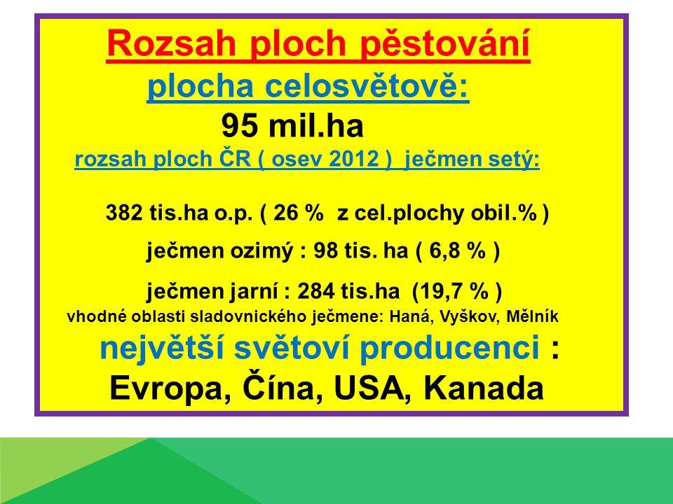 Rozsah ploch pěstování plocha celosvětově: 95 mil.ha rozsah ploch ČR ( osev 2012 ) ječmen setý: 382 tis.ha o.p.