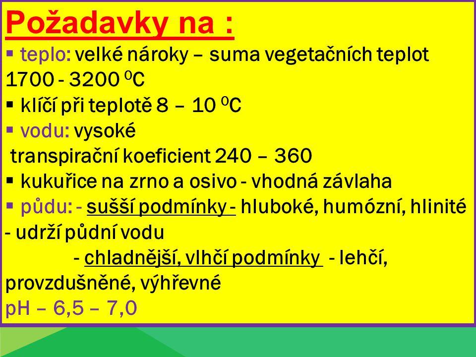 Požadavky na :  teplo: velké nároky – suma vegetačních teplot 1700 - 3200 0 C  klíčí při teplotě 8 – 10 0 C  vodu: vysoké transpirační koeficient 2