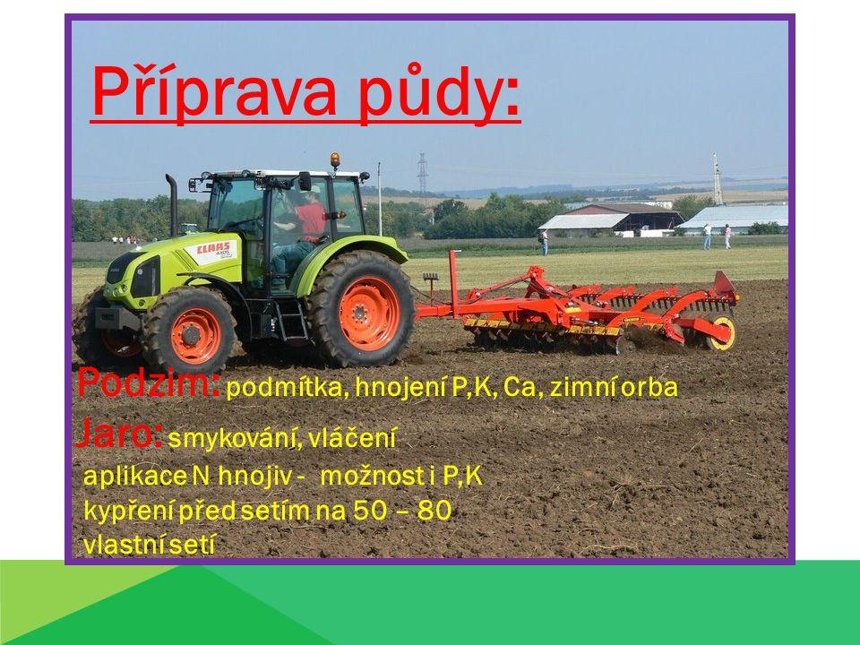 Příprava půdy: Podzim: podmítka, hnojení P,K, Ca, zimní orba Jaro: smykování, vláčení aplikace N hnojiv - možnost i P,K kypření před setím na 50 – 80