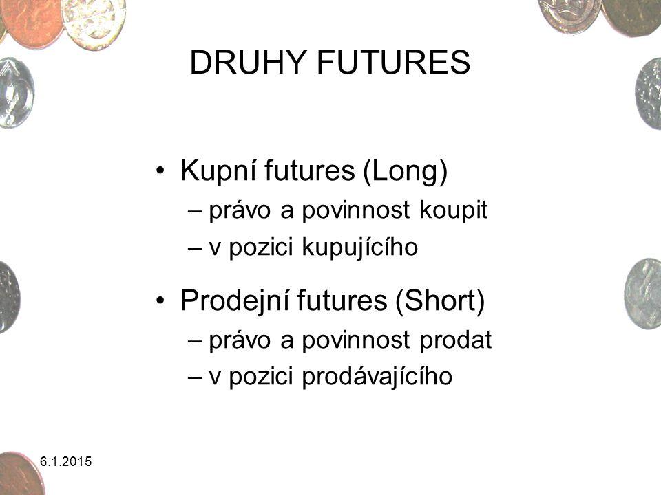 6.1.2015 DRUHY FUTURES Kupní futures (Long) –právo a povinnost koupit –v pozici kupujícího Prodejní futures (Short) –právo a povinnost prodat –v pozic