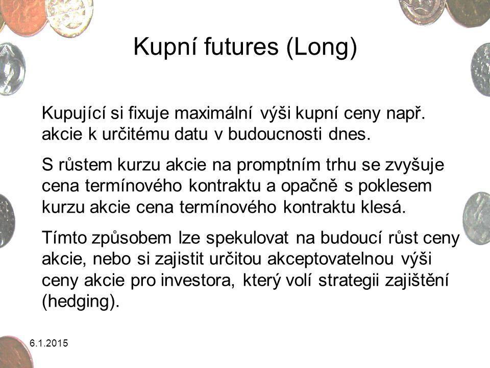 6.1.2015 Kupní futures (Long) Kupující si fixuje maximální výši kupní ceny např. akcie k určitému datu v budoucnosti dnes. S růstem kurzu akcie na pro