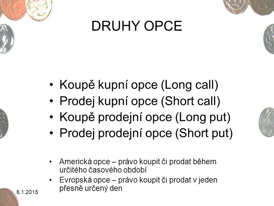 6.1.2015 DRUHY OPCE Koupě kupní opce (Long call) Prodej kupní opce (Short call) Koupě prodejní opce (Long put) Prodej prodejní opce (Short put) Americ