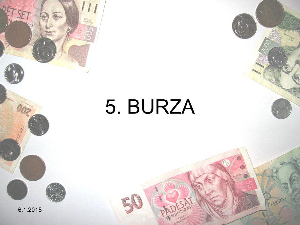 6.1.2015 BURZA = zvláštním způsobem organizované setkání kupujících a prodávajících, které se koná na určitém místě = trh, kde se střetává nabídka a poptávka = obrovský trh na cenné papíry