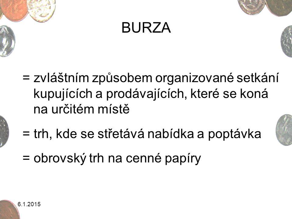 6.1.2015 BURZA = zvláštním způsobem organizované setkání kupujících a prodávajících, které se koná na určitém místě = trh, kde se střetává nabídka a p