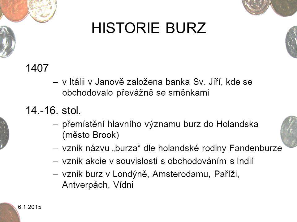 6.1.2015 HISTORIE BURZ 1407 –v Itálii v Janově založena banka Sv. Jiří, kde se obchodovalo převážně se směnkami 14.-16. stol. –přemístění hlavního výz