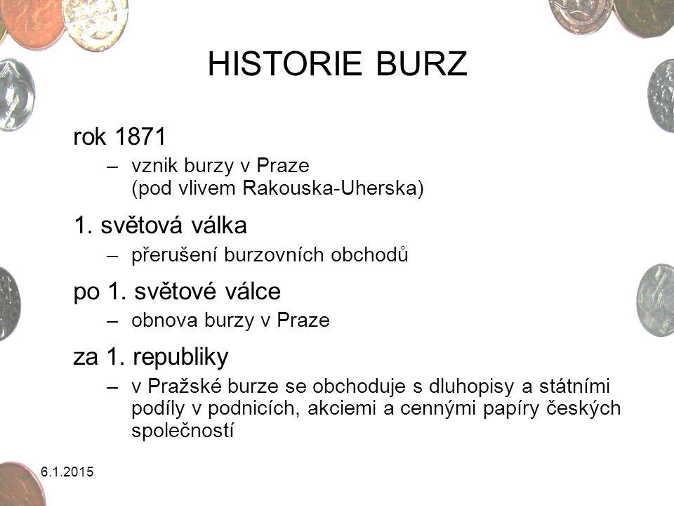 6.1.2015 HISTORIE BURZ rok 1871 –vznik burzy v Praze (pod vlivem Rakouska-Uherska) 1. světová válka –přerušení burzovních obchodů po 1. světové válce