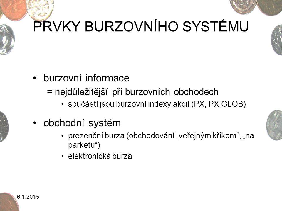 6.1.2015 OBCHODNÍ SYSTÉM BURZ 1)Prezenční burza systém řízený příkazy systém řízený cenou aukční systém 2)Elektronická burza