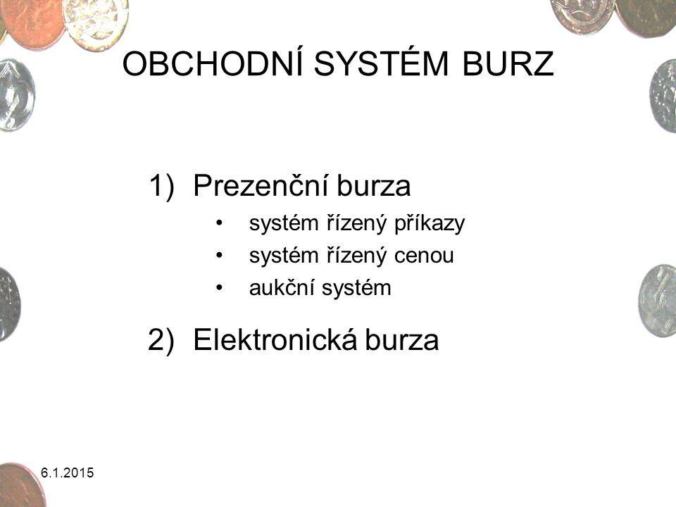 6.1.2015 Systém řízený příkazy = order driven system Může mít podobu kurzů jednotných a jednotlivých.