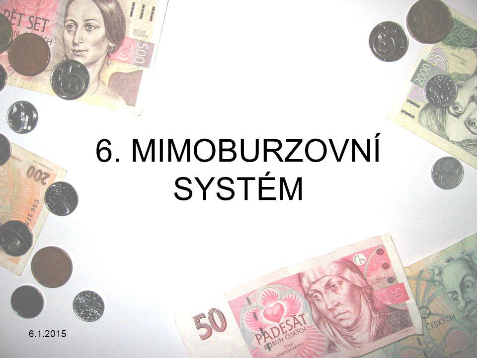 6.1.2015 MIMOBURZOVNÍ OBCHODY Organizované mimoburzovní trhy OTC-trhy