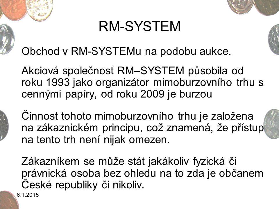 6.1.2015 RM-SYSTEM RM-SYSTEM přijímá k obchodování prakticky všechny zaknihované cenné papíry, pokud splňují příslušné podmínky stanovené Zákonem o cenných papírech pro přijetí k obchodování na veřejném trhu a současně mají Komisí pro cenné papíry přidělen mezinárodní identifikační číslo – ISIN.