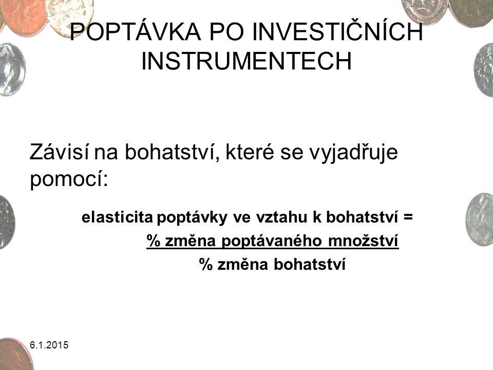 6.1.2015 MAGICKÝ TROJÚHELNÍK Na investování mají vliv 3 základní prvky: výnos riziko likvidita Ideální investiční instrument by vykazoval nejvyšší výnosnost, nejnižší riziko a nejvyšší likviditu ve vztahu k alternativním investičním instrumentům.