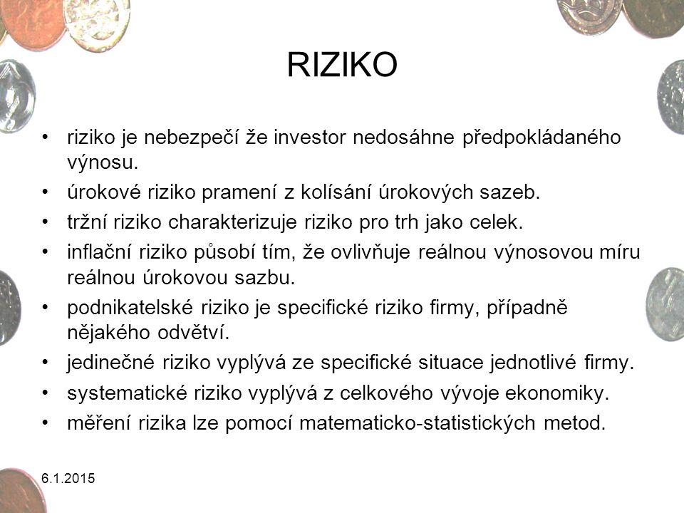 6.1.2015 RIZIKO riziko je nebezpečí že investor nedosáhne předpokládaného výnosu. úrokové riziko pramení z kolísání úrokových sazeb. tržní riziko char