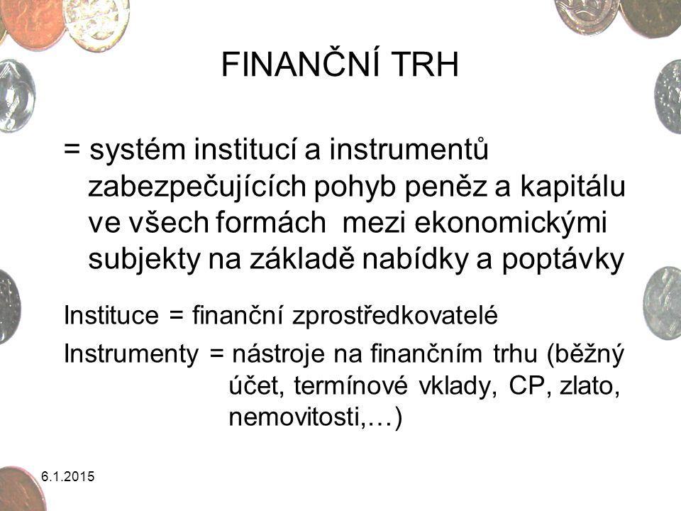 6.1.2015 FINANČNÍ TRH = systém institucí a instrumentů zabezpečujících pohyb peněz a kapitálu ve všech formách mezi ekonomickými subjekty na základě n
