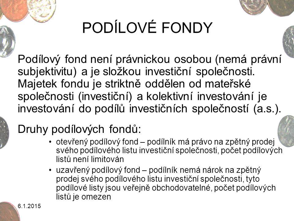 6.1.2015 PODÍLOVÉ FONDY Podílový fond není právnickou osobou (nemá právní subjektivitu) a je složkou investiční společnosti. Majetek fondu je striktně